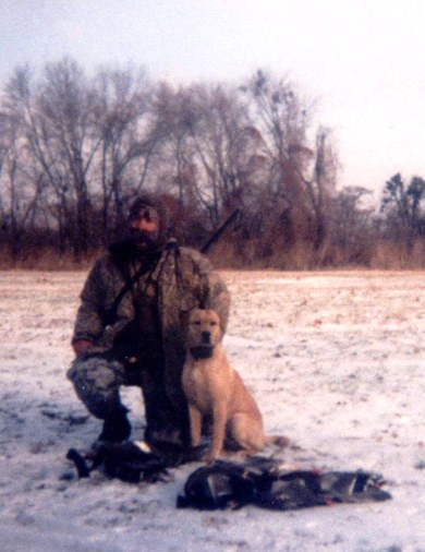 Sean Pegram and his fine english pup Millie on a cold but productive morning in the field.